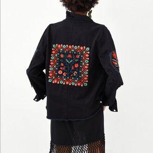 ZARA Trf Embroidered Utility Jacket